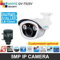 Индивидуальные super HD 5mp IP камера пуля PoE/Нагреватель/SD карты для дополнительного Большой СВЕТОДИОДНЫЙ P2P ONVIF видеонаблюдения камеры безопасности GANVIS GV-T525V