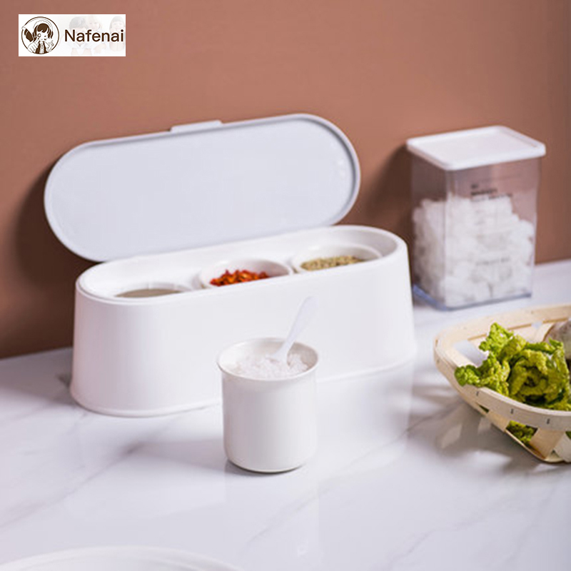 Multifunctional seasoning jar mini box 3 storage Have a cover to prevent moisture storage organizer for kitchen organizador
