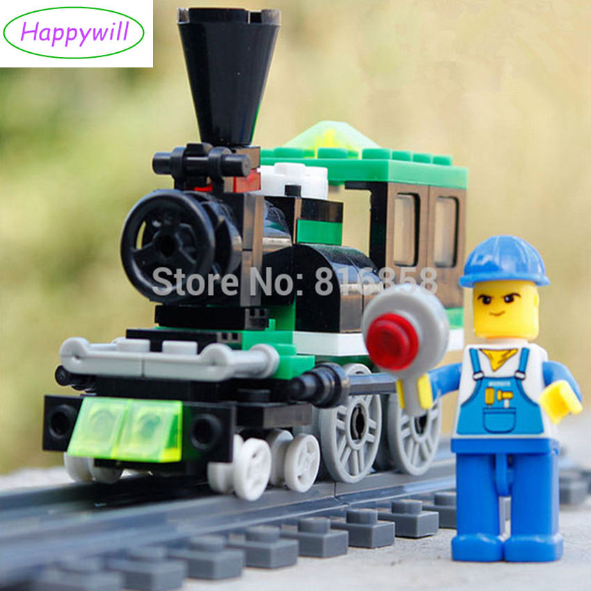 Happywill 82pcs/set Original WG Brand Quality Mini Happy Train 2 Building Blocks Bricks Compatible Assembles Particles free shipping happy farm set 1 diy enlighten block bricks compatible with other assembles particles