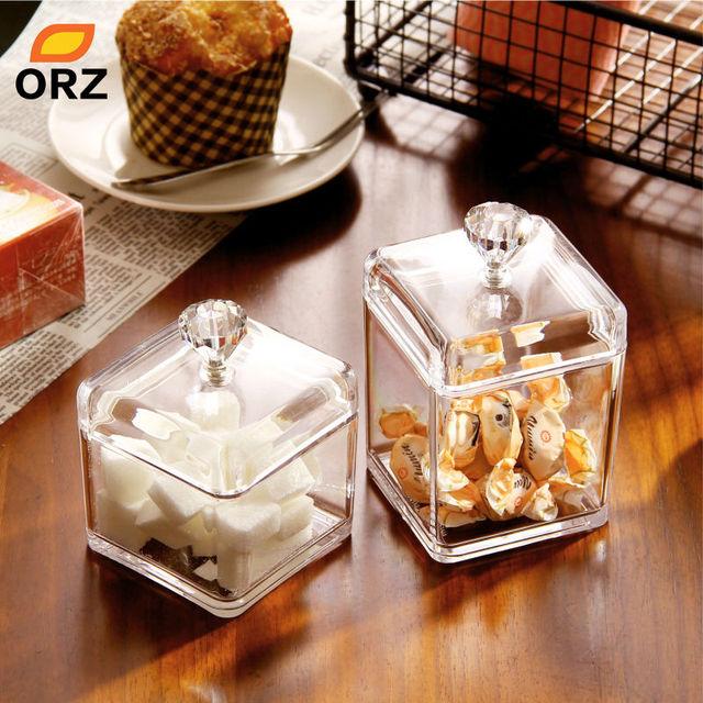 ORZ Storage Box Wedding Dessert Candy Cookies Seasoning Food Tea Acrylic Can Square Clear Lid Seal Storage Bottles Jars
