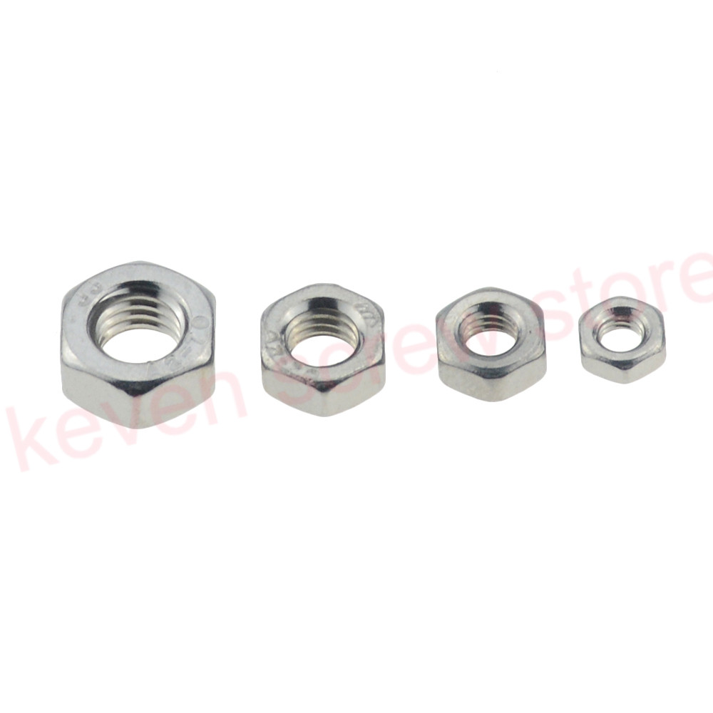 50-100pcs/lot Metric Thread DIN934 M2 M2.5 M3 M4 M5  304 Stainless Steel Hex Nuts