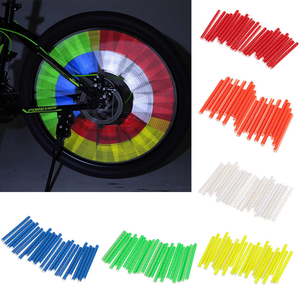 24PCS/lot Bicycle Wheel Spokes Reflective Sticks Tube Safe Spoke Reflector Wheel Reflective Tube Bicycle Decore Light 75mm
