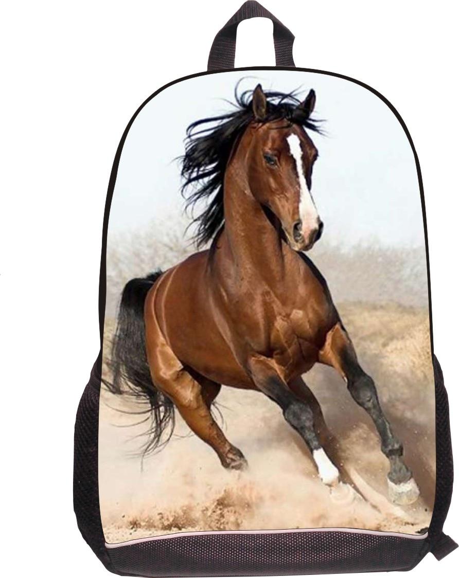 2016 Hot 3D Horse Print backpack For Kids Children Animal Printing Backpack Mens Casual Traveling Shoulder Bags Boys Book Bag