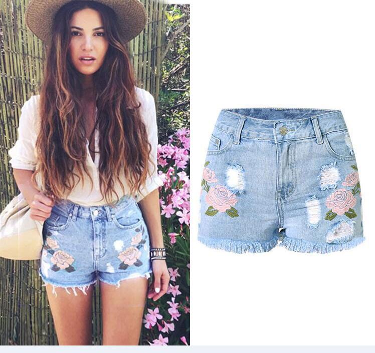 Shorts Fringed Embroidery Tassel Ripped Summer Women's New Flower Rose 3d Slim