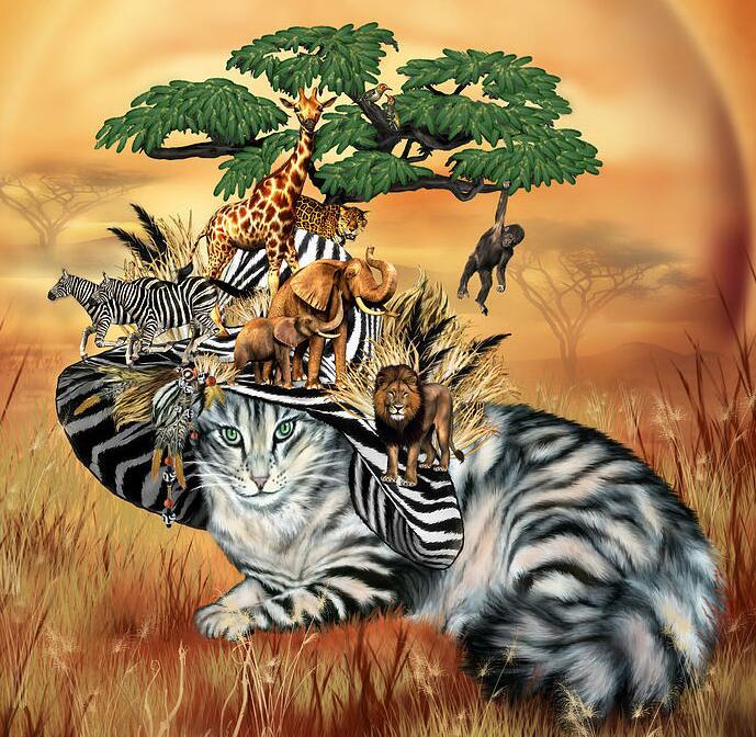 Тигры и львы вышивка
