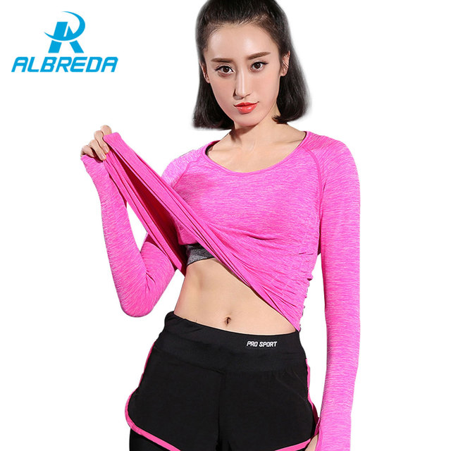 a81d25422aee7 ALBREDA Solid Color Yoga Shirt Women Gym Sports Fitness Clothes Female  Running Quick drying Long Sleeve clothing Yoga Sportswear