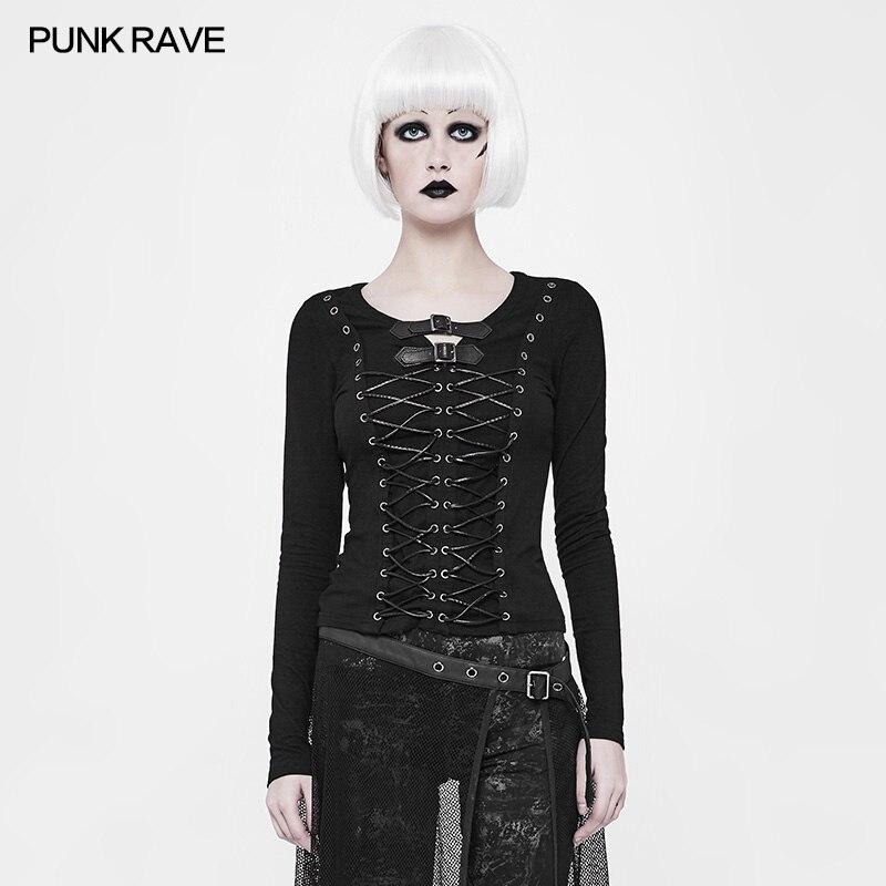 2018 Punk Rave Rock Allacciatura Nero Gotico di Modo di Cotone A Maniche Lunghe Donna T Shirt Magliette e camicette Cosplay WT523-in Magliette da Abbigliamento da donna su  Gruppo 1