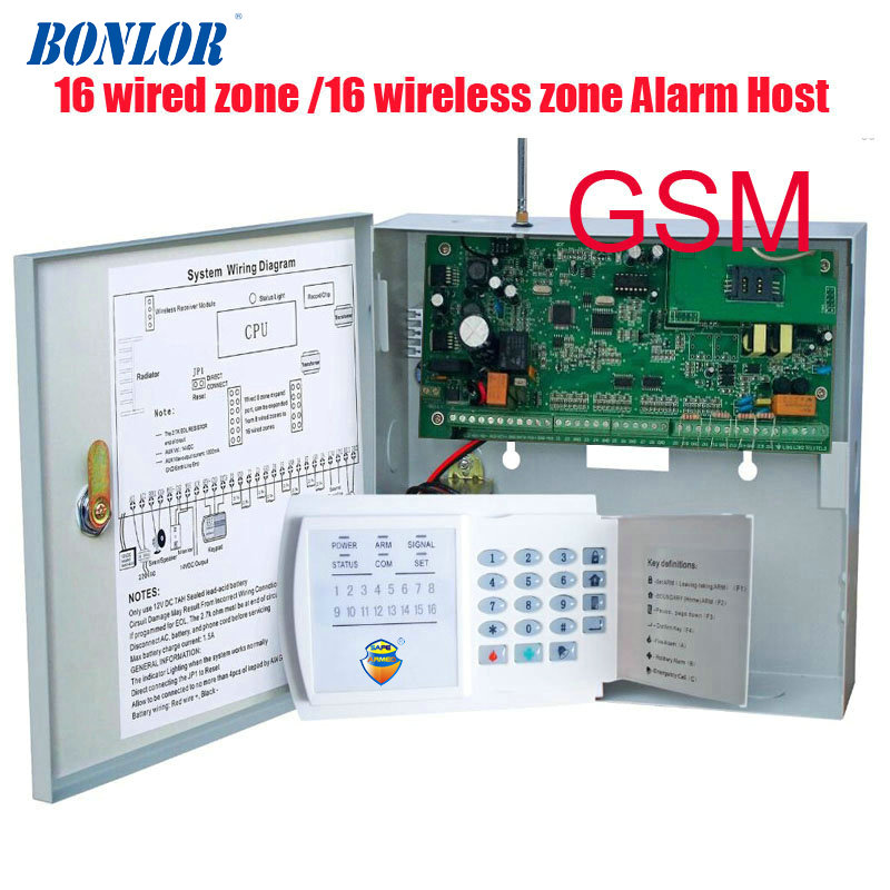 BONLOR (1set) GSM function 16 Zones Wired and 16 Wireless Alarm Control Pane home security Alarm host wireless and wired free shipping 16 zones wired and wireless alarm control pane home security alarm host wireless and wired 850 900 1800 1900mhz