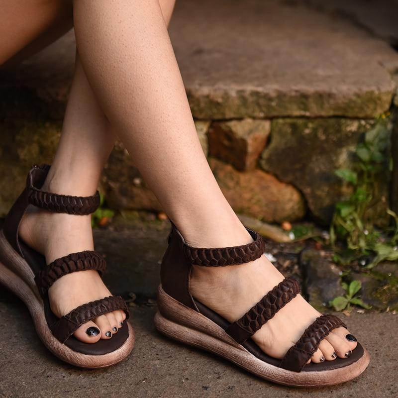 Artmu 2018 New Women Sandals Wedges Gladiator Shoes Handmade Genuine Leather Shoes Woman Zip Sandals Platform