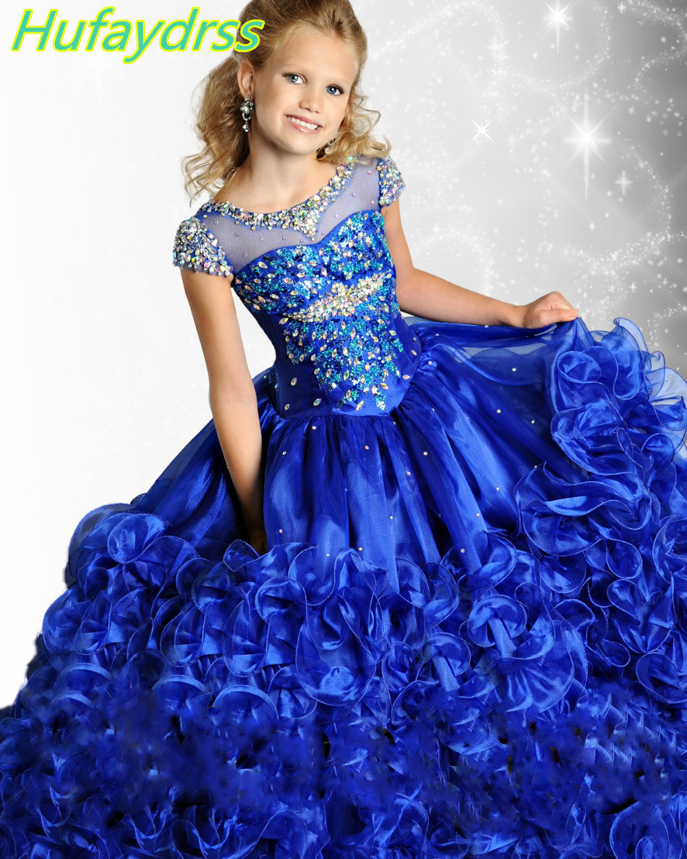 2017 Charming Royal Blue Ball Gown Girls Pageant Dresses ...  2017 Charming R...