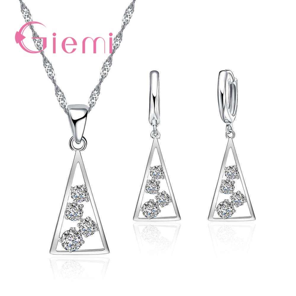 100% 925 Sterling Silver Necklace Pendants for Women Wedding Party Geometry Cubic Zirconia Hoop Earring Sets Lover Girl