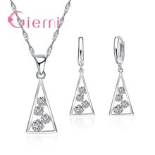100% 925 Sterling Silver Necklace Pendants for Women Wedding Party Geometry Cubic Zirconia Hoop Earring Sets Lover Girl(China)