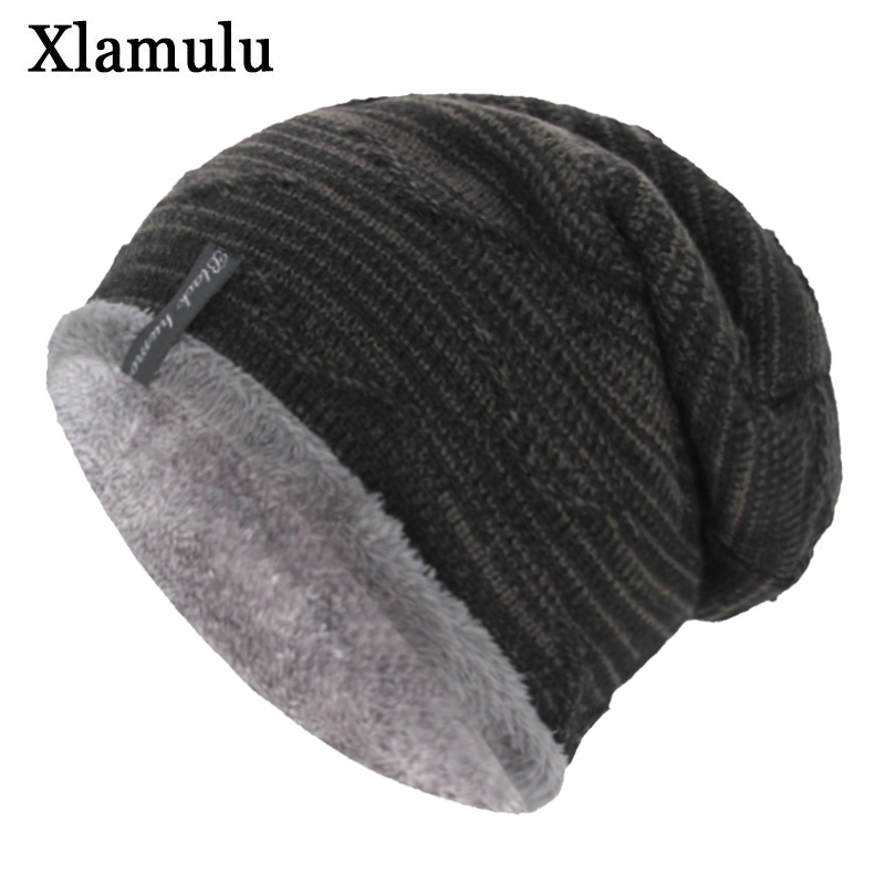 Xlamulu Brand Women   Skullies     Beanies   Knitted Hat Winter Hats For Men Baggy Soft Bonnet Mask   Beanie   Male Gorros Knitting Hat Caps