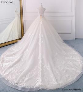 Image 2 - Noble Ball Gowns Plus Size Wedding Dress Chapel Train Bride Wedding Scoop Neckline Short Sleeves Ves tidos De Novia With Beaded