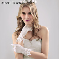 2018 New Wedding Gloves Lace Bridal Accessories Short Wedding Accessories Wedding Gloves for Bride Creamy White Mingli Tengda