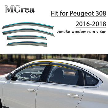 Backar 4pcs Auto Car Windows Rain Wind Sun Shield Deflector Visor Trim or Peugeot 308 2016 2017 2018 Accessories All Weather