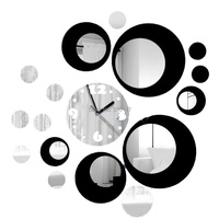 Mirrored Black Silver Rounds Wall Clock Modern Design DIY Acrylic 3D Sticker Watch For Living Room Home Decoration 44X42CM
