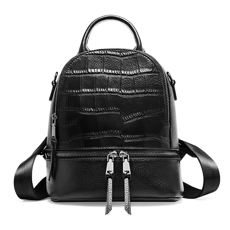 Chic Leisure Crocodile Pattern Cowhide Leather Women Daypack Small Double Zipper Female Backpack Simple Knapsack