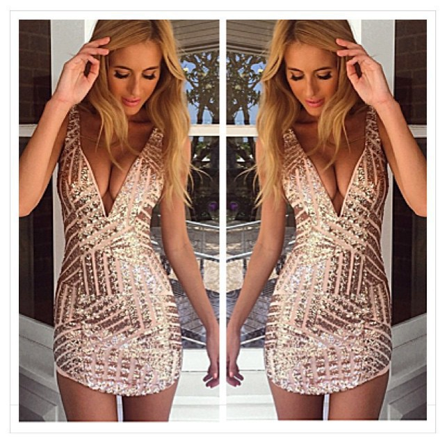 4fdc7e6e6e3 Sexy Plunging Neck Sleeveless Sequined Bodycon Dress For Women-in Dresses  from Women's Clothing on Aliexpress.com | Alibaba Group
