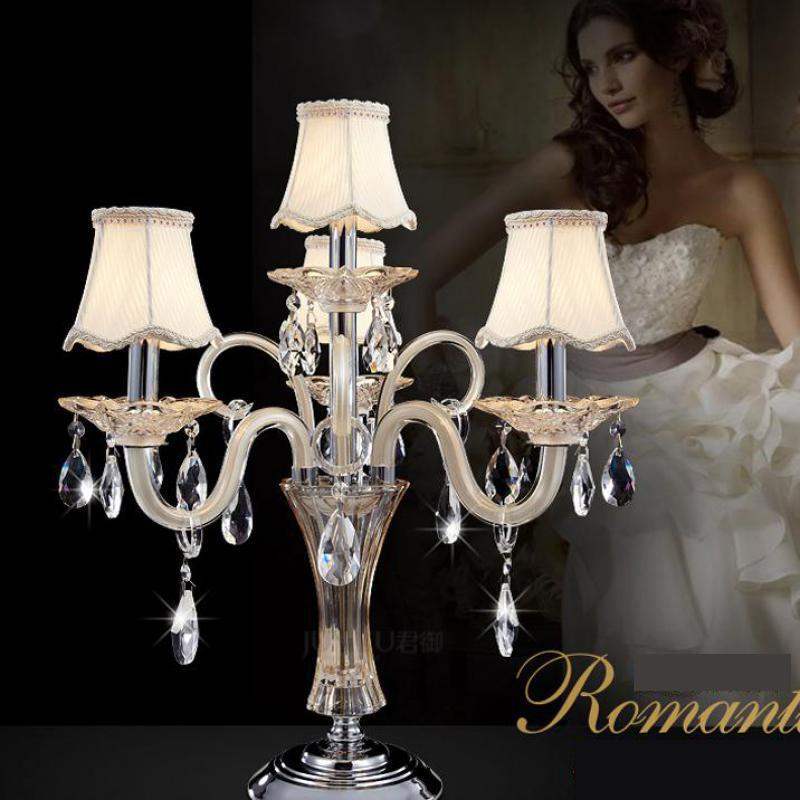 French 4 arm crystal table lamps large restaurant e14 led candle french 4 arm crystal table lamps large restaurant e14 led candle holder study desk light fabric shade wedding candlestick abajur in table lamps from lights mozeypictures