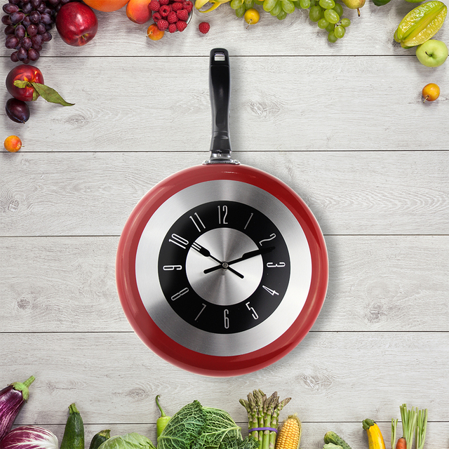 "High Quality Wall Clock Metal Frying Pan Design 8"" 10"" 12"" Clocks Kitchen Decoration Novelty Art Watch Horloge Murale Relogio"