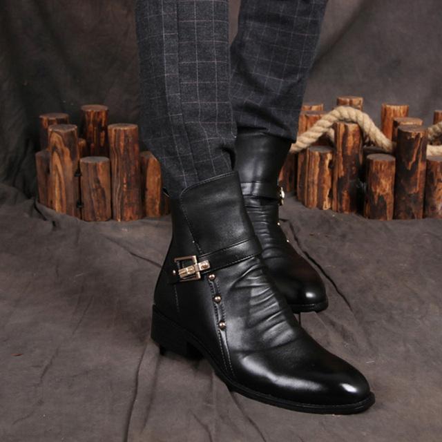 2019 Autumn Winter Shoes Men Genuine Leather Ankle Boots Fashion Rivets Men's Chelsea Boots Warm Plush for Cold Winter A126