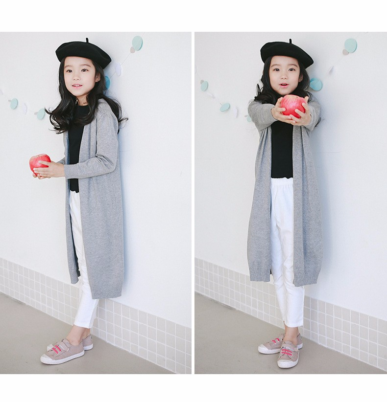 2017 new knitted girls cardigan coats spring autumn long knitting baby big girls sweater red gray black long tops knit sweater  2017g 5 6 7 8 9 10 11 12 13 14 15 16 years old little big teenage girls kids cardigan sweaters (27)