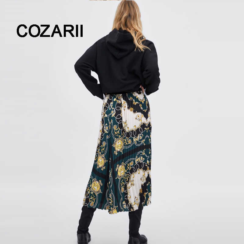 COZARII skirt women england style vintage Court positioning printing collect waist pleated high waist skirts women plus size