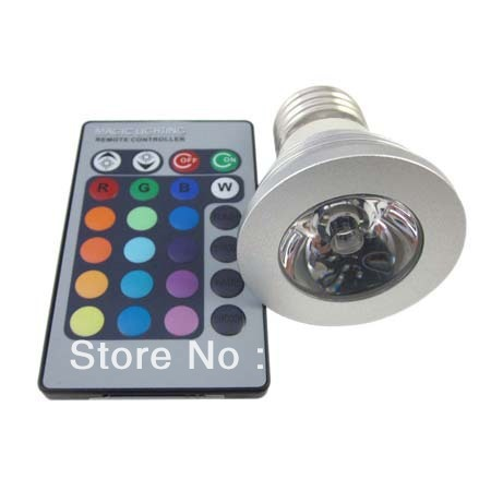 2PCS/Lot E27 3W 4W LED Light RGB 16Colors Change Lamp with 24Key Remote Control (free shipping, warranty 2 years)