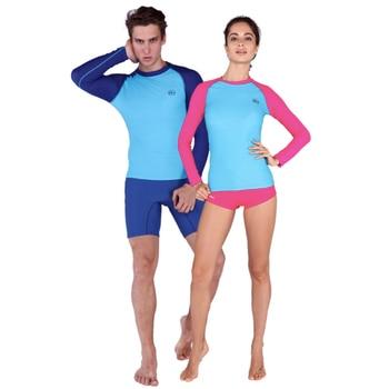 b306204d6f720 Sabolay Surf Natación deporte upf50 + Rash guards anti-uv traje de baño de  secado rápido hombres mujeres playa manga larga Tops Pantalones bañadores
