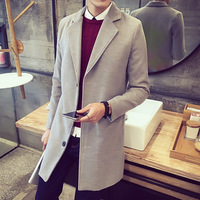Winter Wool Coat Men Leisure Long Sections Woolen Coats Men's Pure Color Casual Fashion Jackets Casual Men Overcoat 2018 New