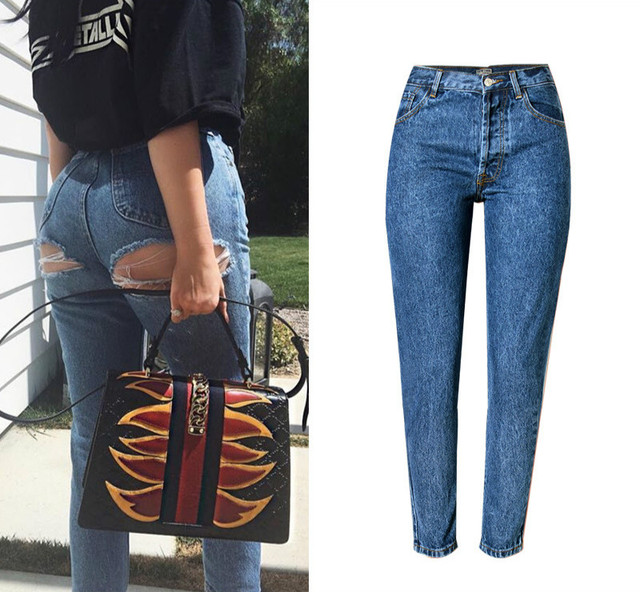 60f61e38ede Super Sexy Vintage Women Jeans High Waist Exposed Hips Ripped Jeans Femme  Fashion Hole Straight Pants Top Quality Denim Trousers