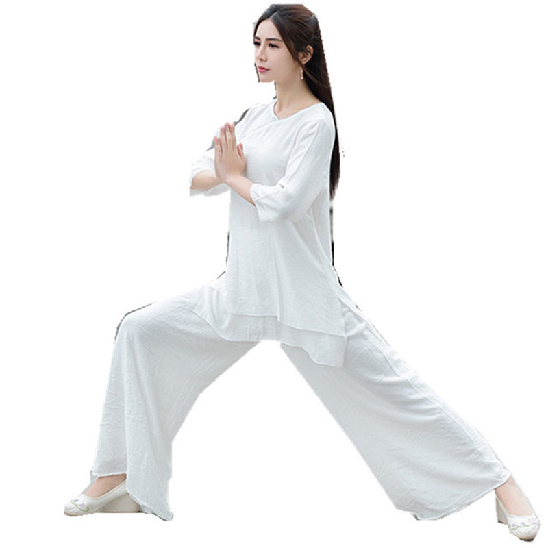 Women Cotton Yoga Set Spring Autumn Kung fu Martial arts Shirts Pants lay Meditation Uniforms Tai
