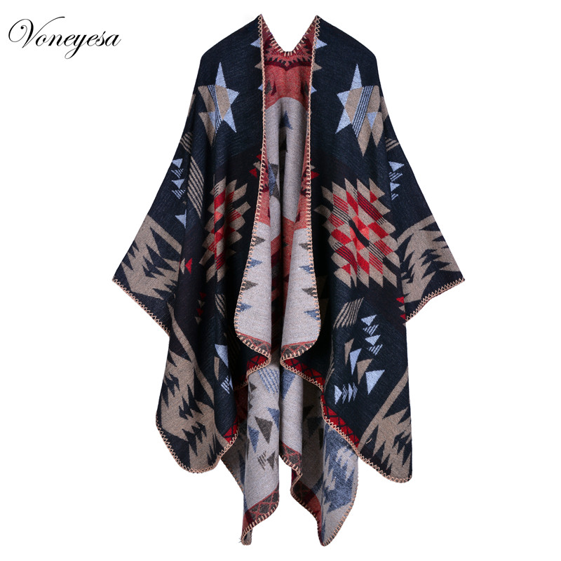 New Brand Women's Winter Poncho Vintage Blanket Women's Lady Knit Shawl Cape Cashmere Scarf Poncho Winter Blanket Scarf RO16009