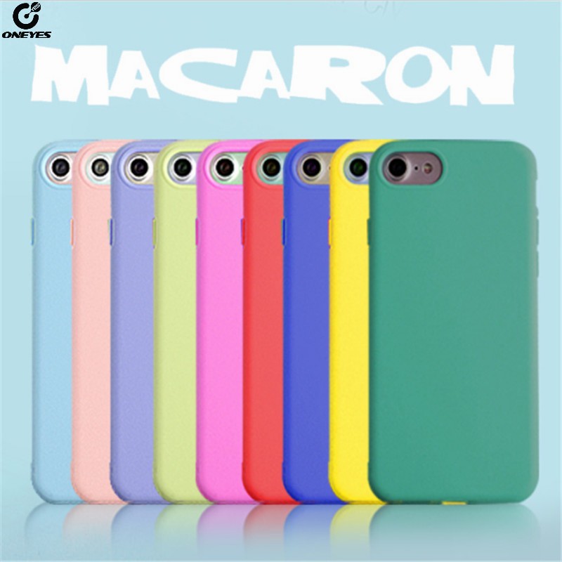 ONEYES Case For iphone 7 Cover 5 5s 6 6s Plus Macaron Soft silicon Phone case 8