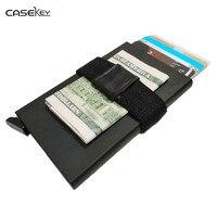 CaseKey Ücretsiz Kargo Ile Yüksek Kalite RFID Koruma Mini Cüzdan Minimalist Erkekler Cüzdan Otomatik Kart Tutucu İş Çanta