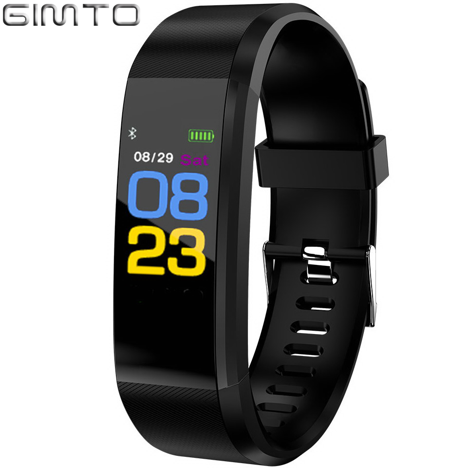 GIMTO Women Men Smart Bracelet Sport Digital Bluetooth Watch Waterproof Blood Pressure Heart Rate Sleep Monitor For Android iOS цена 2017
