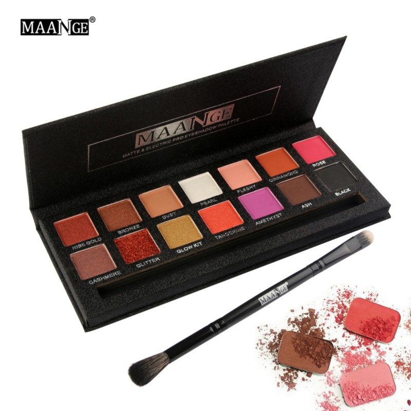 14 Colors Eyeshadow Palette Eyes Shimmer Matte Eyeshadow Makeup Light Eye Shadow Palette Shades With Brush 12 colours shimmer matte eyeshadow palette