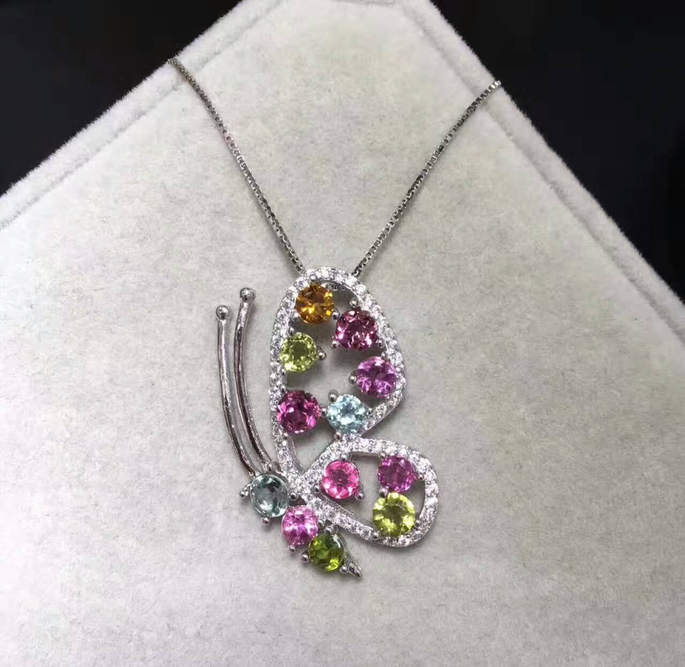Natural multicolor tourmaline pendant S925 silver Natural gemstone Pendant Necklace trendy lovely butterfly women party jewelry