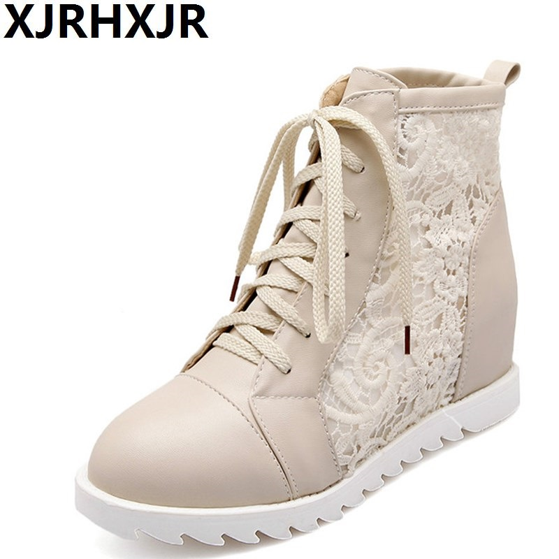 XJRHXJR Breathable Fashion Lace Up Single Boots Women Casual Shoes Hidden Heels Ladies Round Toe Hollow Martin Boots Size 34-43 2017 autumn fashion boots sequins women shoes lady pu leather white boots bling brand martin boots breathable black lace up pink