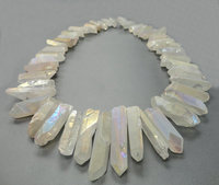 48pcs Strand Raw Crystals Points Bulk Rainbow White Mystic Titanium Quartz Top Drilled Crystal Stick Beads