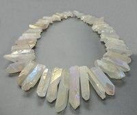 48pcs/strand Raw Crystals Points Bulk,Rainbow White Mystic Titanium Quartz Top Drilled Crystal Stick Beads Pendants 6-10x22-40mm
