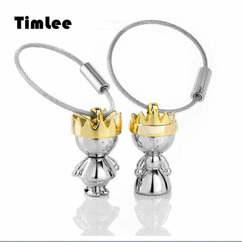 Timlee X337 Valentine's Day Gift Contracted King Queen Key Chains ,Lovers creative gifts Fashion Jewelry Wholesale