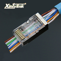 Xintylink 50pcs 100pcs Rj45 Plug Cat6 Network Connector 8P8C Metal Shielded Modular Terminals Have Hole EZ