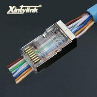 Xintylink 50pcs 100pcs Rj45 Plug Cat6 Network Connector 8P8C Metal Shielded Modular Terminals Have Hole EZ