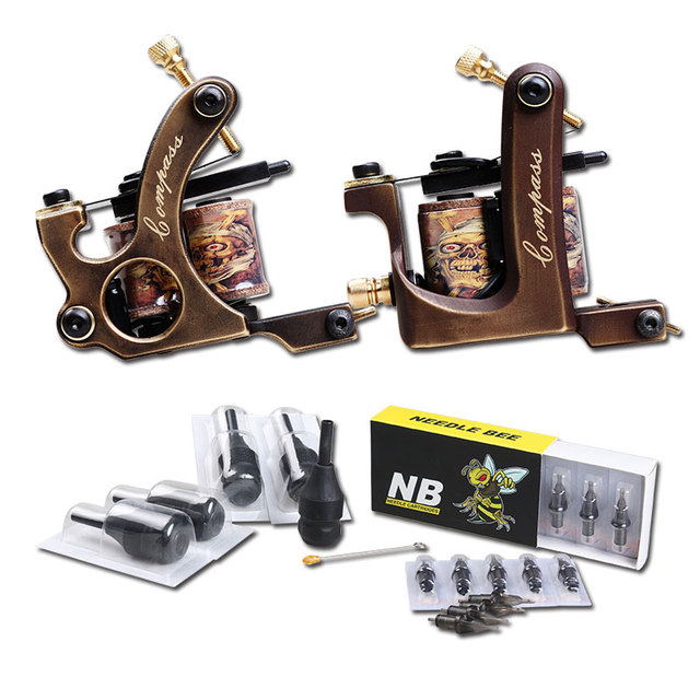 Professional Handmade Copper Tattoo Kit Machine Liner Tattoo Gun Integral Needle With Grips
