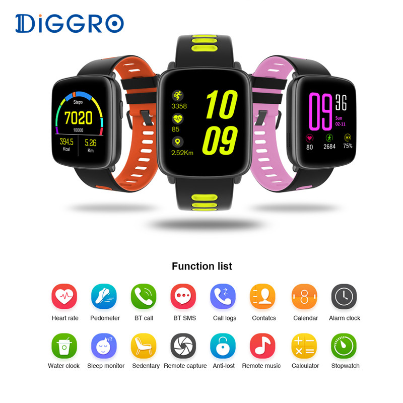 Diggro GV68 Bluetooth IP68 Waterproof Smart Watch Heart Rate Sleep Pedometer Sedentary Remote Music&Camera Android & IOS Monitor z4 smartwatch android ios compatible ip67 waterproof heart rate monitor smart watch sedentary reminder pedometer remote camera page 8