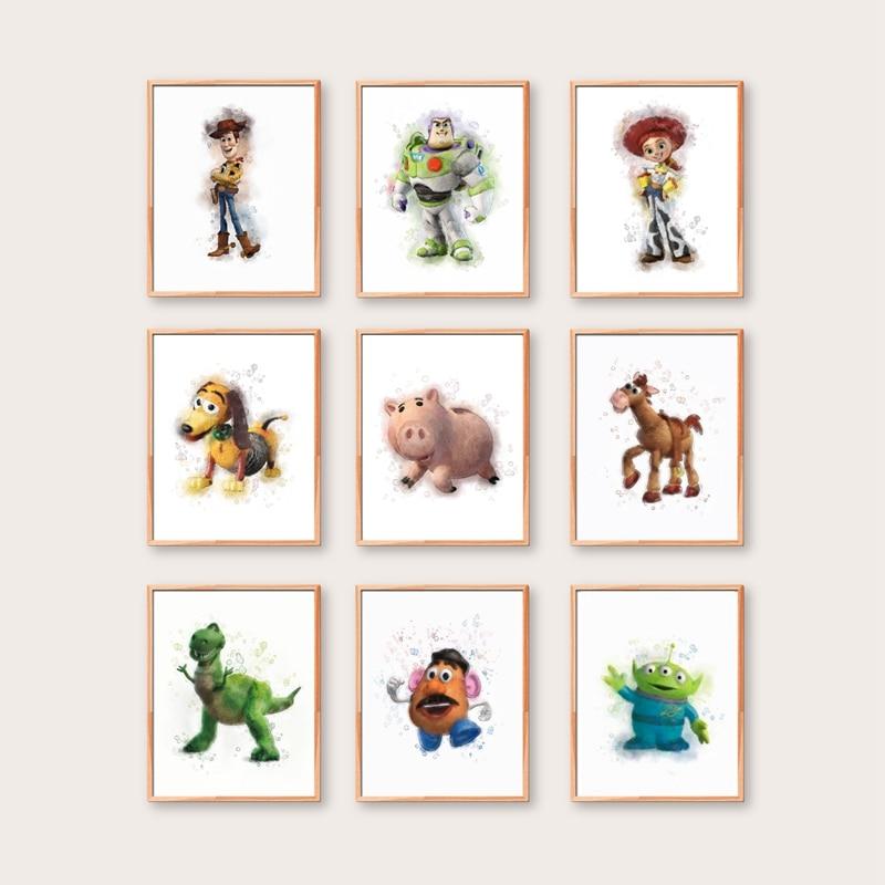 Cartoon Character Posters Canvas Art Print Sheriff Woody Buzz Lightyear Jessie Slinky Mr Potato Rex Movie Painting Home Decor