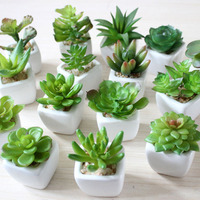 12 Set Mini Artificial Green Plants Bonsai Fake Flower Garden Ornaments Potted Home Balcony Decoration Succulent Plants