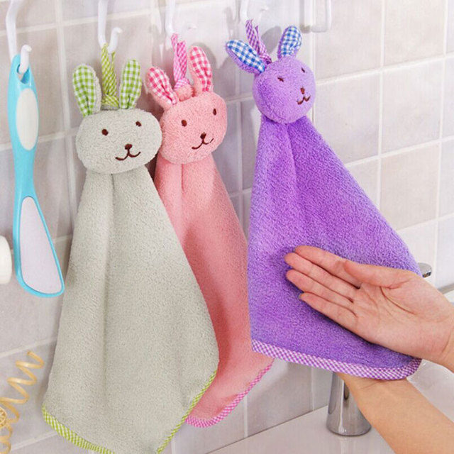 Free Shipping Cartoon Rabbit Head High Quality Flannel Wipe Hand